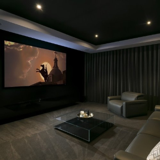Moody home theater room