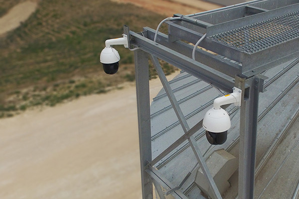 CCTV cameras mounted next to silo