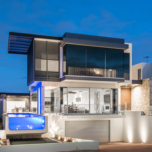 Modern facade with glass front pool